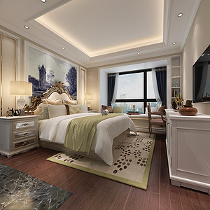 床上用品、窗帘、家具的搭配很有质感