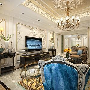 电视墙客厅宽敞,色彩明快光鲜