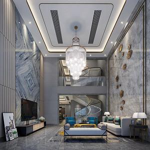 常平加州阳光装修案例-280㎡现代风格别墅装修效果图
