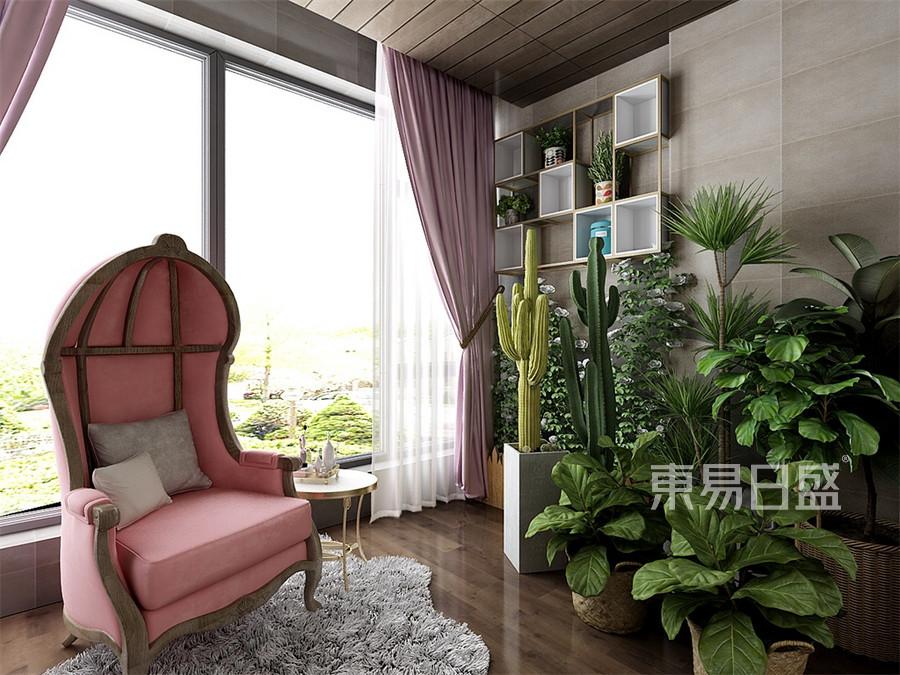 三居室-新中式-女儿房阳台-效果图