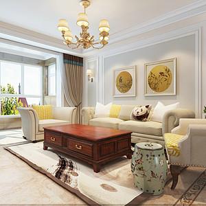 瀚唐小区138平三室二厅简美风格装修案例