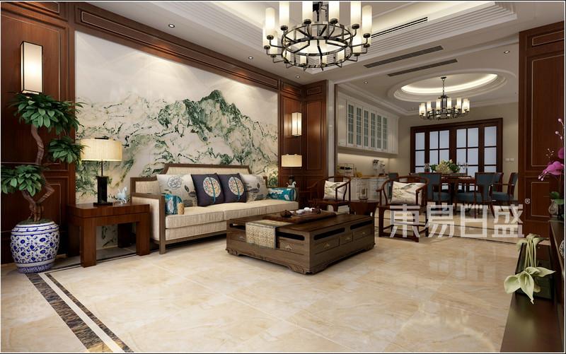 中式风格-一层客厅-装修效果图