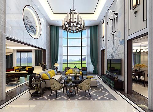 厚街海逸豪庭御峰装修效果图-750㎡别墅新中式混搭美式装修案例