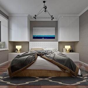 二居室-现代简约-主卧-效果图