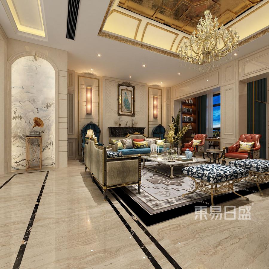 欧式古典风格客厅装修设计效果图_2018装修案例图片