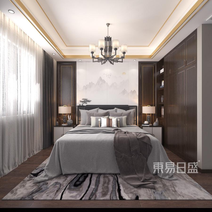 卧室以中正平和布局传达东方秩序美学