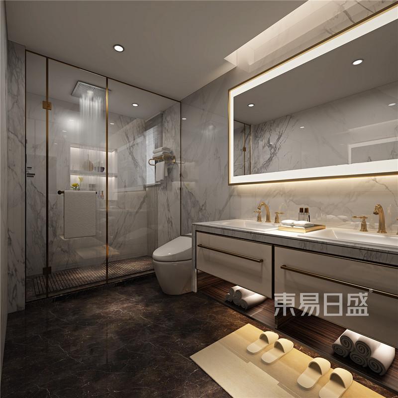现代式浴室低调与柔和效果图_装修效果图大全2018图片