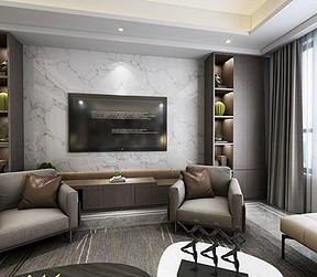 现代简约客厅电视机背景墙效果图