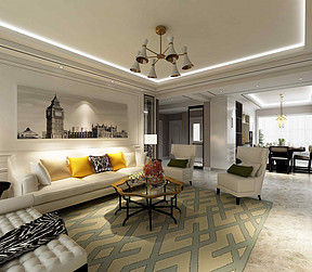 锦绣半岛162平米现代轻奢风格客厅