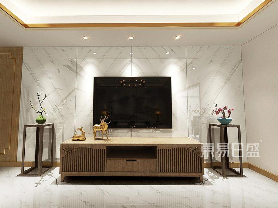 220㎡跃层新中式装修客厅电视背景墙效果图