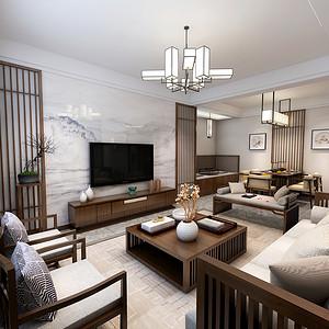 东尚观湖 新中式装修效果图 三室二厅二卫 122平米
