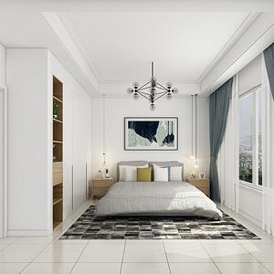 绿地湖湘中心188平现代极简卧室