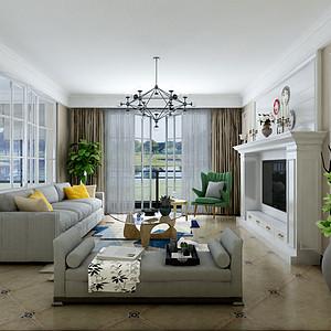 200㎡四居室现代美式风格客厅效果图