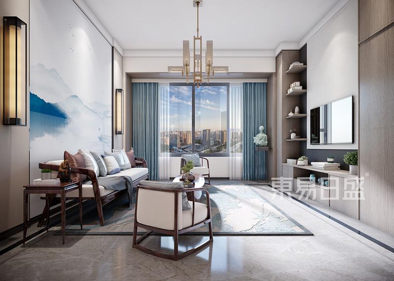 盛南新都98㎡新中式风格客厅设计图片