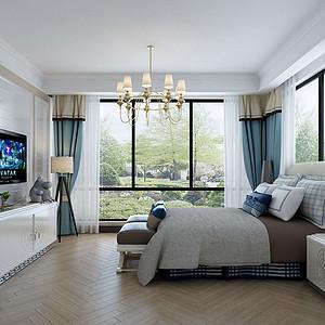 200㎡四居室现代美式风格主卧效果图