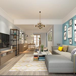 昆明润城100平米三室两厅北欧风格装修效果图