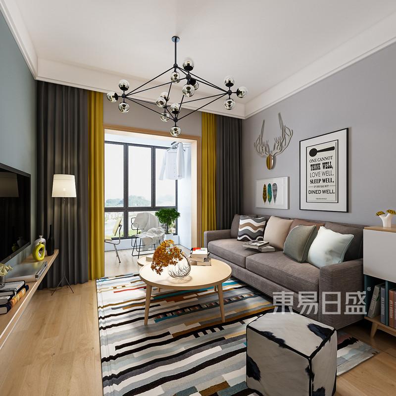 客厅灰色墙面和原木色茶几的搭配