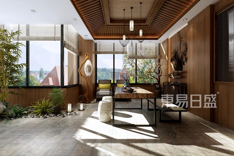 龙湖480平新中式风格别墅露台