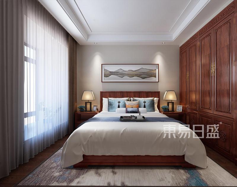 南城帝景中央新中式卧室装修效果图