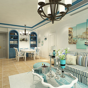 沙发墙蓝白条纹的沙发,海域风情的挂画