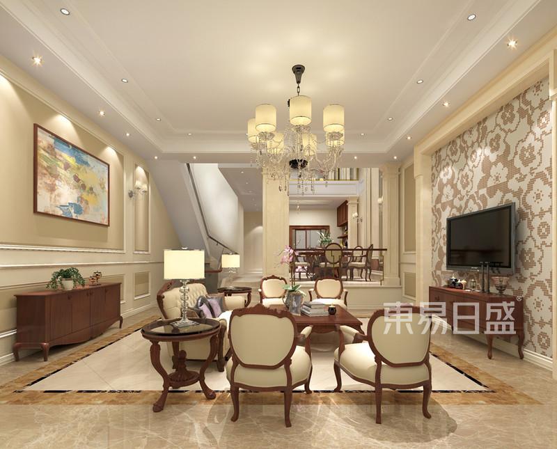 复式装饰   所属案例:万科城 欧式风格装修效果图 180平米 四房两厅