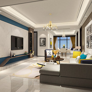 东城鼎峰尚境装修案例 138㎡现代简约三房二厅装修效果图