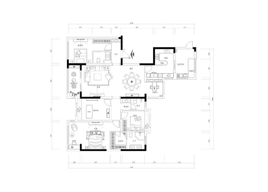 九号公馆160平米法式装修效果图户型图