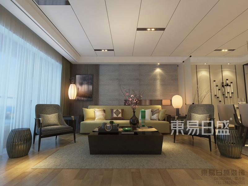 客厅效果图-新中式