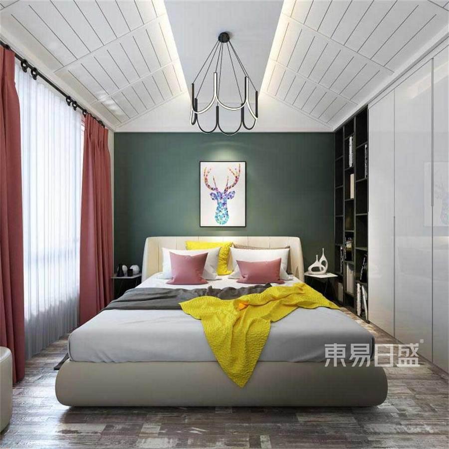 卧室整个房间清爽恬静,柔和的中国风