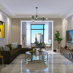 金汇广场-90平米-现代简约风格装修案例效果图