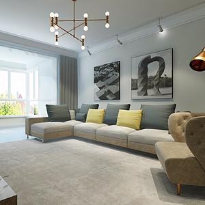 山水郡95平两室二厅简约风格装修案例
