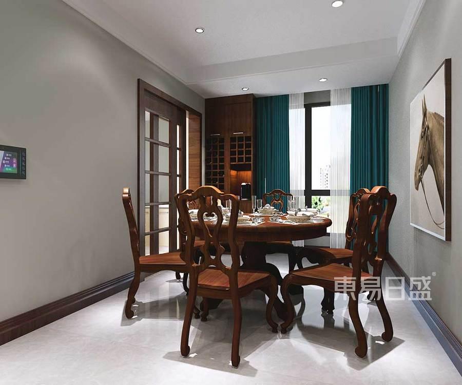 餐厅主打米色调的餐厅,实木的家具
