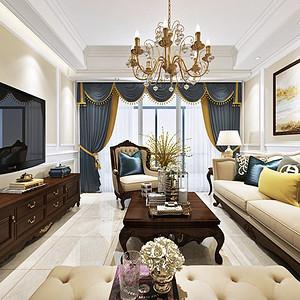 金沙泊岸欧式古典风格客厅装修效果图