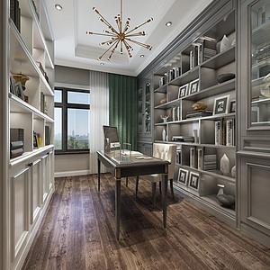现代美式风格书房装修效果图
