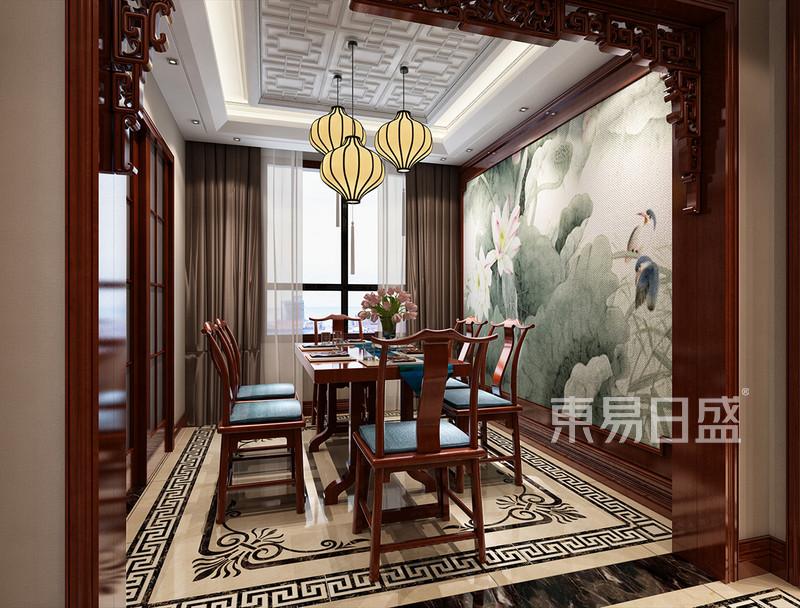 新中式 - 餐厅垭口的造型与荷花的壁画使餐厅体现