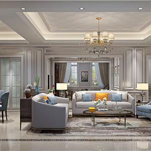 绿城玫瑰园325平跃层美式风格装修设计效果图