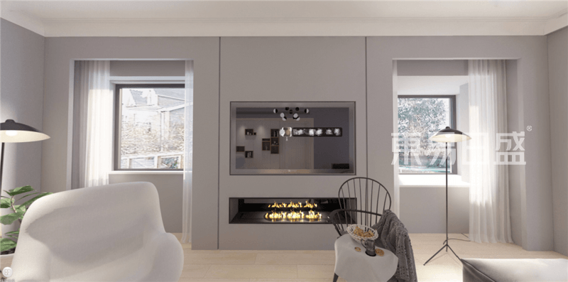 北歐- 國際豪庭298平躍層北歐裝修效果圖-客廳壁爐