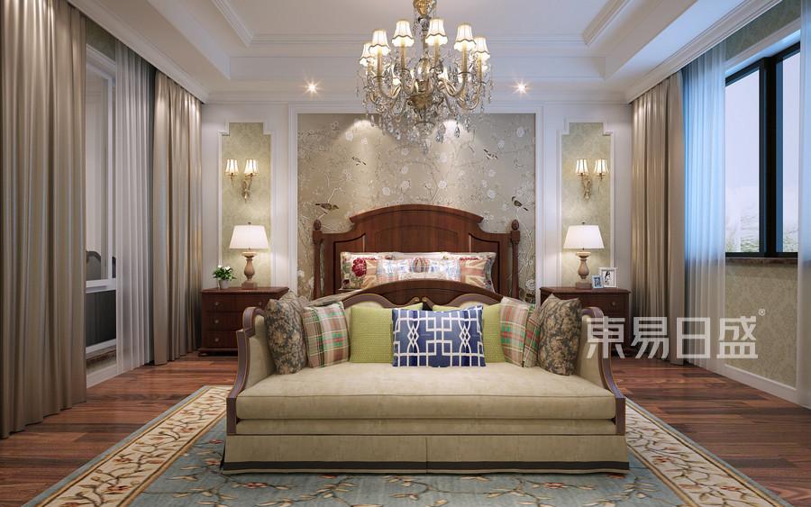 350平依水和墅简约美式风格二层主卧装修效果图