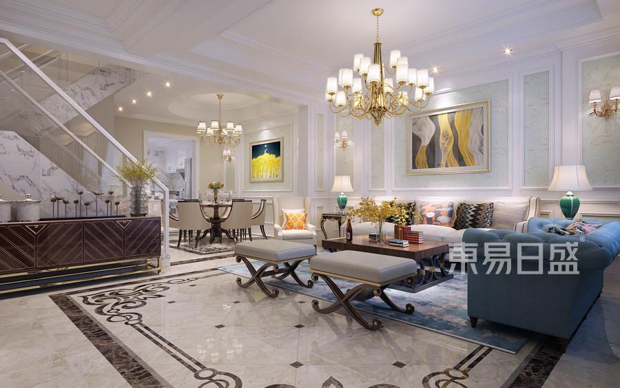 350平依水和墅简约美式风格一层客厅装修效果图