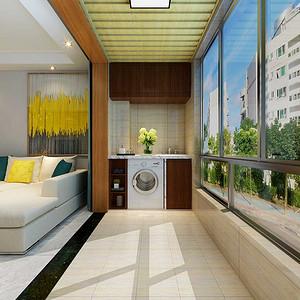 阳台加入洗衣柜的设计将功能更加丰富。
