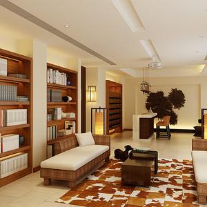 东南亚风格书房效果图