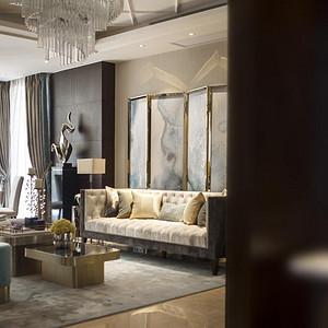 万科金域-现代简约-客厅装修效果图