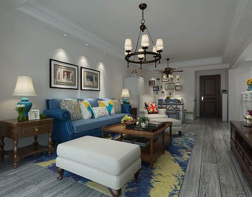 元森北新时代-92平米-美式风格两室一厅装修案例效果图