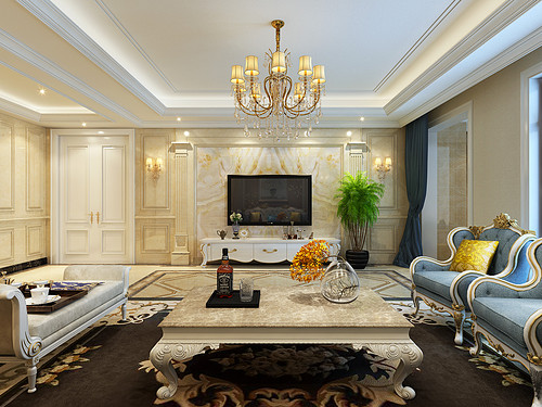 天山九峯 四室二厅 欧式新古典风格装修案例装修设计理念