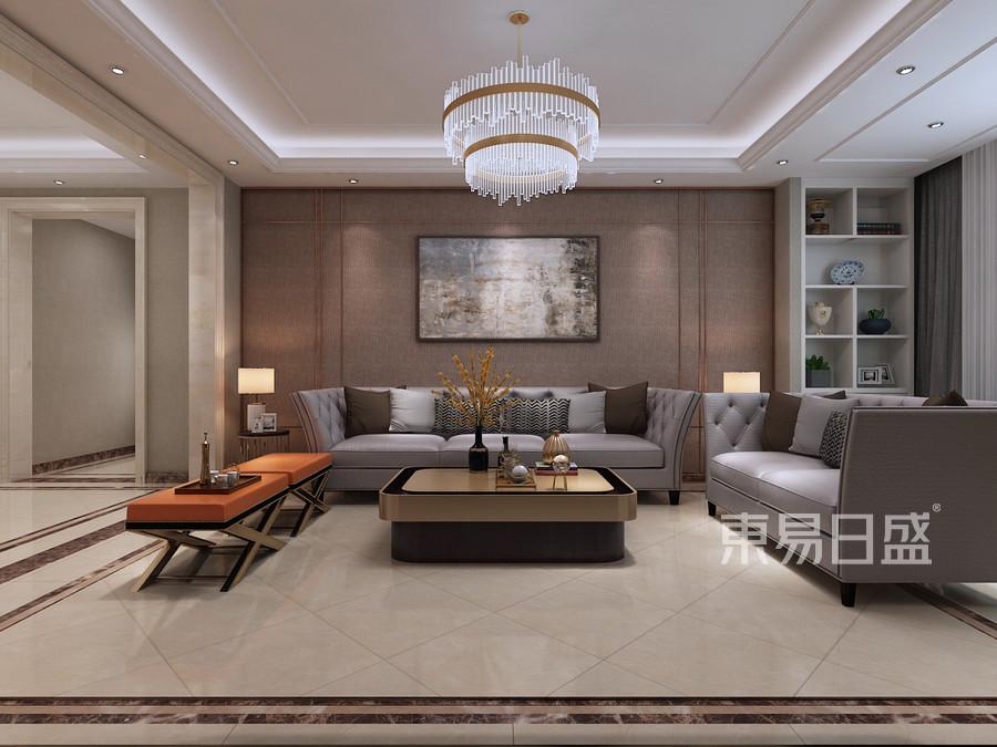 三居室-简欧轻奢-客厅沙发背景墙-效果图效果图_2019图片