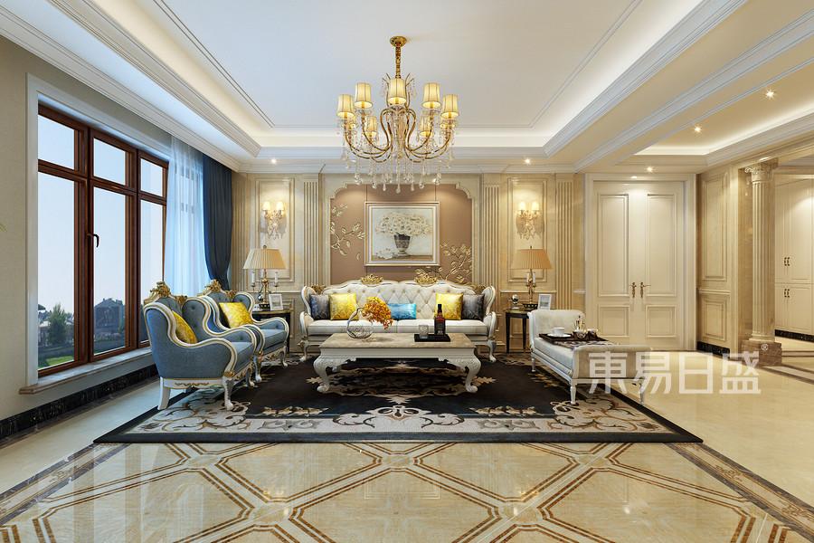 欧式新古典风格-客厅-装修效果图