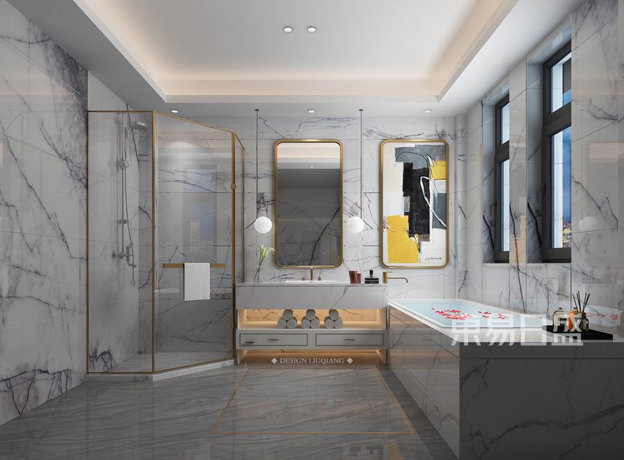 国博城新中式装修卫生间效果图