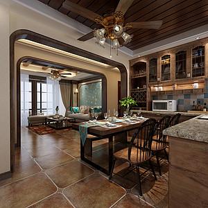 厨房餐厅木色家居连在一起