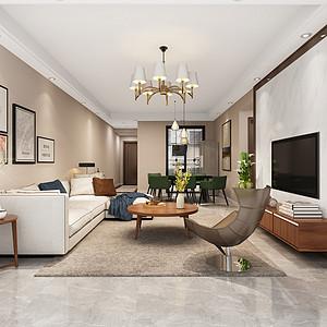 厚街丰泰观山碧水家装案例-106㎡现代简约三房二厅装修效果图