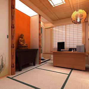 日式风格书房效果图